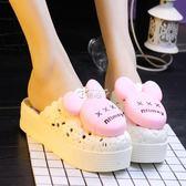 新款夏女可愛浴室內防滑拖鞋鬆糕厚底包頭坡跟涼拖鞋洞洞鞋沙灘鞋 俏腳丫