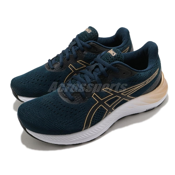 Asics 慢跑鞋 Gel-Excite 8 寬楦頭 女鞋 藍 金 基本款 運動鞋【ACS】 1012A915403