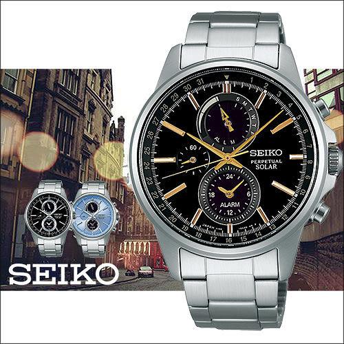 【僾瑪精品】SEIKO 精工 SOLAR 黑金時尚三眼太陽能計時腕錶-42mm/V198-0AC0K(SBPJ007J)