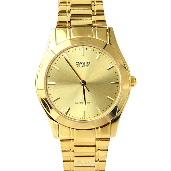 CASIO卡西歐全金色指針腕錶 金光閃耀手錶【NEC109】