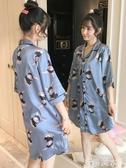 睡裙女夏季冰絲短袖薄款甜美可愛學生家居服夏天網紅韓版卡通睡衣 米希美衣