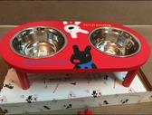 木架狗盆貓盆寵物盆狗碗貓碗寵物雙碗餐具【南風小舖】