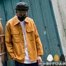 【OBIYUAN】落肩襯衫 前短後長 寬鬆 口袋 休閒 襯衫外套 情侶款 共3色【Y0803】