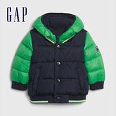 Gap嬰兒 時尚撞色假兩件式連帽外套 592830-藍綠拼接