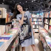 洋裝 韓國風復古印花不規則露肩綁帶收腰短袖連身裙 花漾小姐【預購】