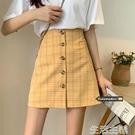 百褶裙半身裙 黃色格子半身裙女夏季新款高腰顯瘦短裙女ins超火包臀裙a字裙 生活主義