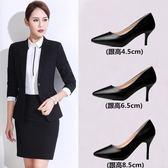 高跟鞋 單鞋女式皮鞋黑色高跟鞋女職業中跟面試正裝工作鞋小碼  瑪麗蘇  瑪麗蘇