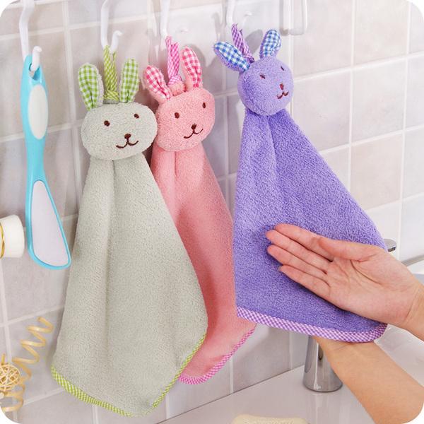 創意可愛兔子 加厚可掛式珊瑚超吸水擦手巾 廚房浴室掛式擦手巾 【F008】MY COLOR
