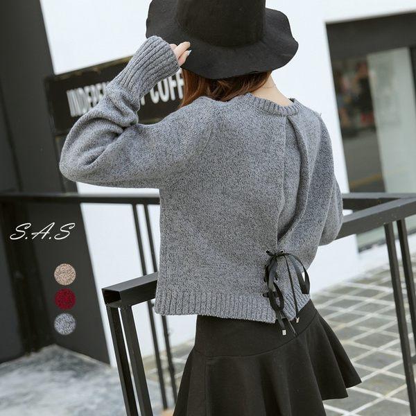 韓新款後綁帶毛衣 綁帶蝴蝶結甜美毛衣 針織麻灰毛衣 530