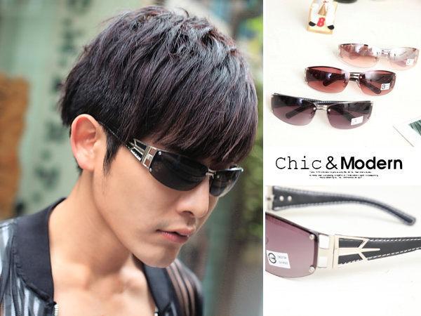 經典率性無框.復古皮革鏡架。鼻墊款太陽眼鏡-抗UV400【os723】*911 SHOP*