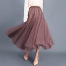 腰圍鬆緊純色飄逸三層紗設計大擺長裙 半身裙 百褶裙A字裙