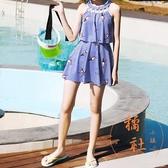 可愛游泳裝學生泳衣女連體裙式【橘社小鎮】