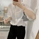 簍空刺繡蕾絲立領七分袖上衣CC KOREA ~ Q27816