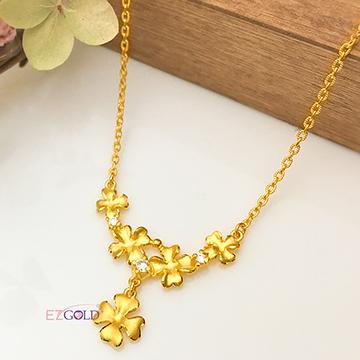 幸運草金飾-幸運光彩-黃金項鍊