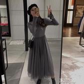 長袖洋裝-初秋新款韓版氣質網紗拼接針織連衣裙法式款冬天打底毛衣裙子 夏沫之戀