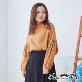【Tiara Tiara】百貨同步ss 時尚百搭荷葉領後扣長袖上衣(褐)