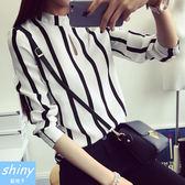 【V0221-7】shiny藍格子-瑕疵特賣.百搭條紋配色小高領長袖上衣