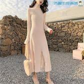 韓版蕾絲拼接中長款針織長袖連身裙洛麗的雜貨鋪