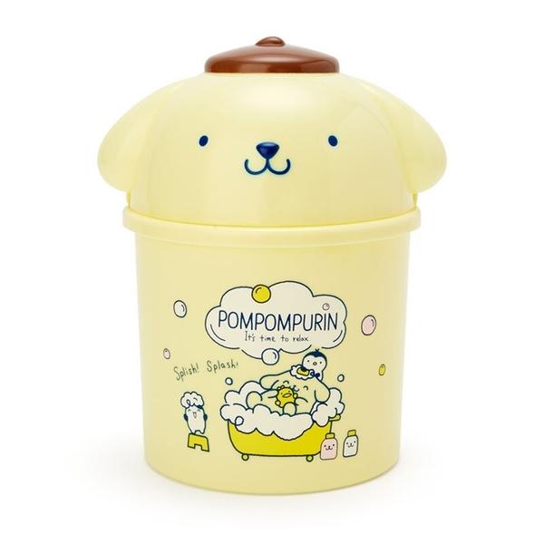小禮堂 布丁狗 造型掀蓋垃圾桶 圓垃圾桶 塑膠垃圾桶 桌上型垃圾桶  (黃藍 牛奶泡泡浴) 4550337-38639