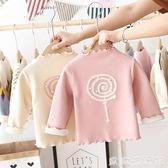 女童長袖 女童打底衫2021新款兒童秋冬裝套頭衫圓領女寶寶上衣加絨加厚冬款 歐歐