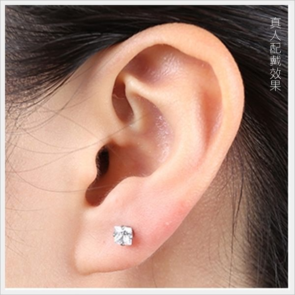 316L醫療鋼 5mm公主方鑽 天然白水晶 旋轉式耳環-銀 防抗過敏 單支販售
