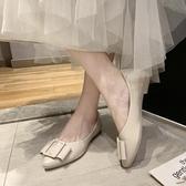 平底尖頭單鞋女2020春款淺口平跟軟底豆豆鞋舒適上班工作鞋蛋卷鞋 雙11 伊蘿