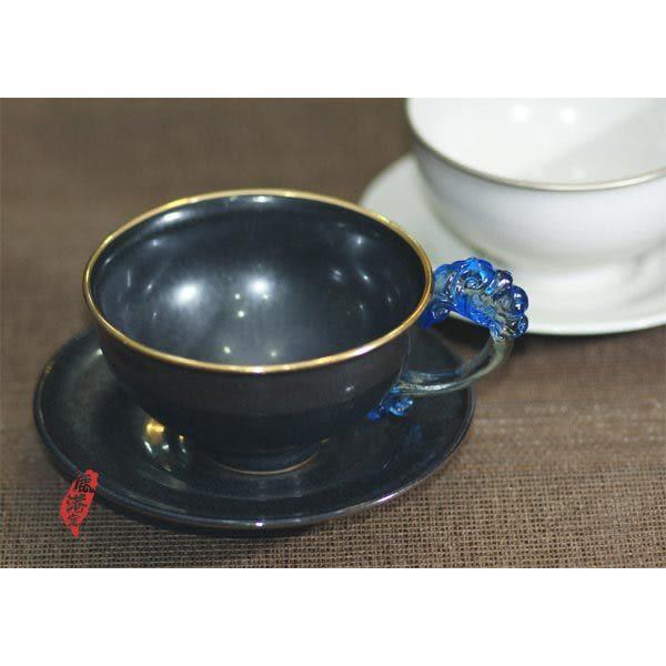 鹿港窯~ 琉璃耳 陶藝咖啡杯【絕配對杯】(二杯二盤)附精美包裝◆免運費送到家