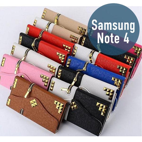 SAMSUNG 三星 Note 4 土豪金鉚釘拉鍊錢包皮套 插卡 側翻 手機套 手機殼 保護套 配件
