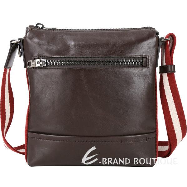 BALLY TREZZINI 牛皮紅白紅織帶滾邊郵差包(咖啡色) 1810436-07