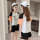 中大尺碼運動套裝 胖MM女裝寬鬆2019夏季新款時尚短袖褲裝字母拼接兩件套 HT24730