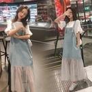 牛仔背帶長裙子女夏裝2021新款初中高中學生小清新韓版連衣裙套裝「時尚彩紅屋」