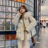2019新款韓版學生連帽羽絨棉服女泫雅風短款棉衣收腰寬松大毛領6605#F-1F004 日韓屋