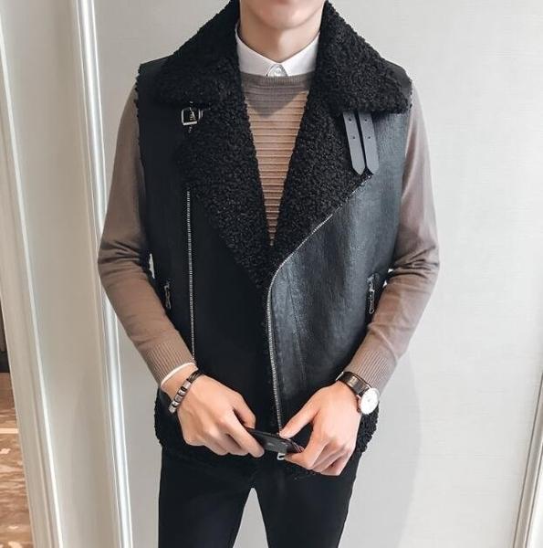 FINDSENSE Z1 韓國 時尚 潮 男 冬季 防寒保暖 短款無袖 皮質 羊