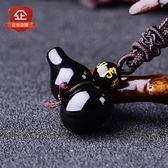 真開光飾品葫蘆轉運黑曜石吊墜男女情侶一對保平安招財項鍊吉祥物 聖誕節禮物大優惠