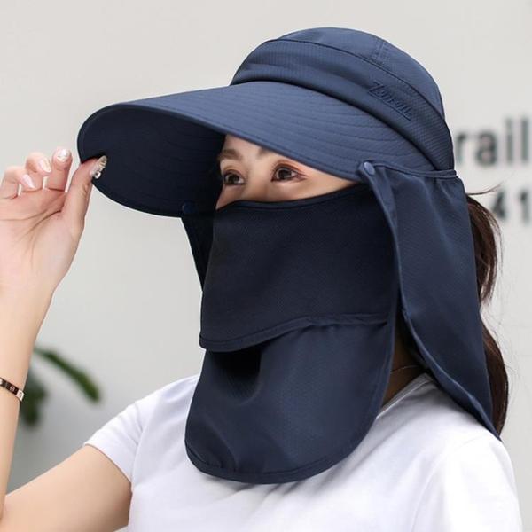 大沿遮陽帽子女夏季防曬遮臉太陽帽戶外出行騎車帽防紫外線休閒帽【快速出貨】