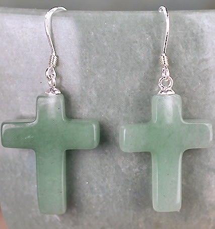 [協貿國際]天然東陵玉十字架耳環925純銀耳勾單對價