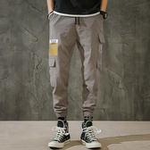 男式薄休閒褲青少年多口袋哈倫寬鬆中腰韓版男士工裝長褲 迪澳安娜