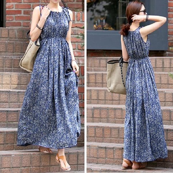 碎花洋裝 夏季連身裙人造棉背心裙寬鬆大碼棉綢圓領波西米亞藍色碎花長裙女 伊蒂斯