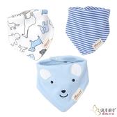 三角口水巾 三件組 純棉防水按扣圍兜兜 藍色小熊 (嬰幼兒/寶寶/兒童/小孩/小朋友)