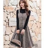 不退流行格紋顯瘦吊帶裙[18100-QF]美之札