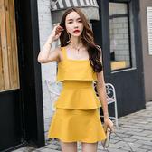 VK精品服飾 韓系素色修身層層收腰顯瘦細肩帶無袖洋裝
