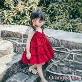 正韓夏天女兒童裙子吊帶連衣裙寶寶大紅色公主裙雪紡裙背心吊帶裙