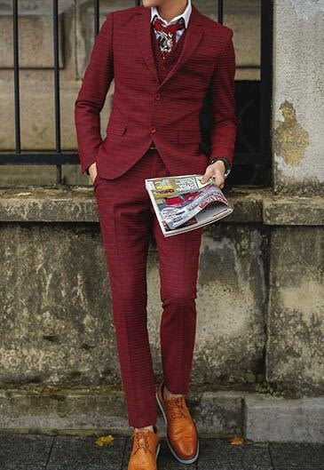 找到自己品牌 韓國男 羊毛呢 紅格子 三件式西裝外套 成套西裝 修身西裝 西裝外套 外套+背心+褲子
