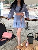 收腰洋裝 人魚姬收腰裙子女春夏2021新款設計感小個子系帶泡泡袖襯衫連身裙 晶彩