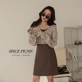 洋裝 Space Picnic 假兩件格紋襯衫洋裝-2色(現貨)【C21082077】