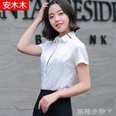 職業襯衫女條紋韓版襯衣時尚修身大碼短袖休閒白色雪紡 蘿莉小腳ㄚ