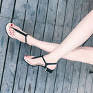 夾腳金屬粗跟涼鞋 女一字扣羅馬鞋【多多鞋包店】z1675