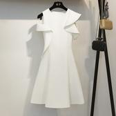 洋裝小禮服新款韓版時尚名媛氣質短裙白色洋裝女 【傑克型男館】