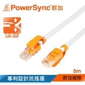 群加 Powersync CAT.6e 1000Mbps 耐搖擺抗彎折 高速網路線 RJ45 LAN Cable【圓線】淺灰色 / 5M (CLN6VAR9050A)