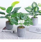 創意仿真龜背葉假盆栽植物室內房間裝飾品擺設辦公桌仿真綠植擺件  igo 卡布奇諾
